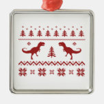 Ugly T-Rex Dinosaur Christmas Sweater Christmas Ornament