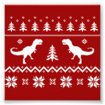 Ugly T-Rex Dinosaur Christmas Sweater Photo Art
