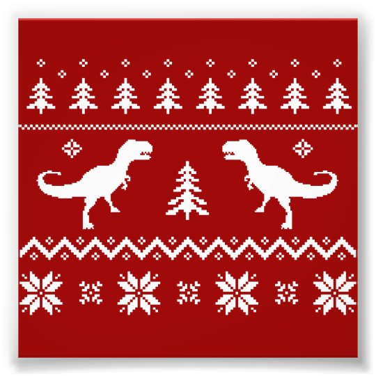ugly t rex dinosaur christmas sweater photo print - Dinosaur Christmas Sweater