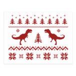 Ugly T-Rex Dinosaur Christmas Sweater Postcard
