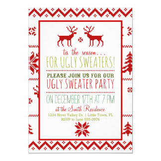 Ugly Tacky Sweater Christmas Holiday Party 5x7 Paper Invitation Card