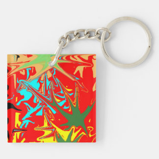 Ugly unusual colorful blot keychain
