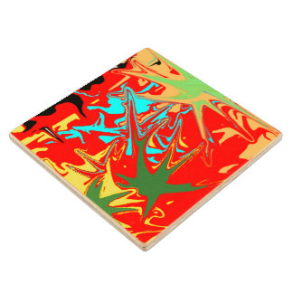 Ugly unusual colorful blot wood coaster