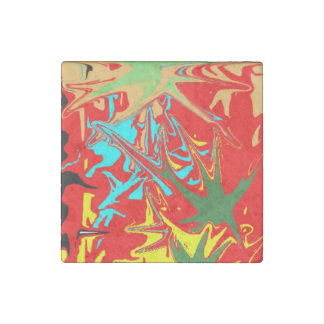 Ugly unusual colorful blot stone magnet