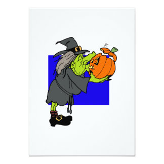 Ugly witch kissing scared pumpkin invites