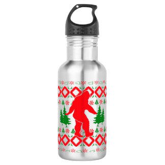 Ugly Xmas Bigfoot Stainless Steel Water Bottle