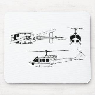 UH1 Huey Blueprint (Iriquois) Mouse Pad