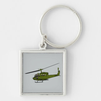 UH-1 Huey - Color Silver-Colored Square Keychain