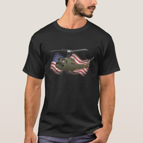 UH_1 Huey Helicopter with US Flag T_Shirt