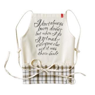Uh Oh! Burnt dinner. Sarcastic apron. Zazzle HEART Apron