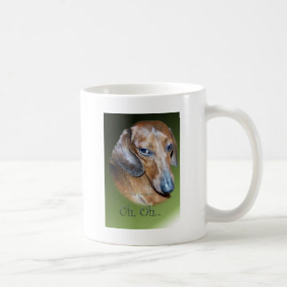 Uh Oh Dauchsund Green Background Coffee Mug