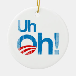 Uh oh Faded.png Double-Sided Ceramic Round Christmas Ornament