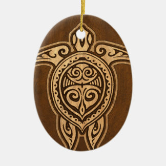 Uhane Honu Faux Wood Hawaiian Turtle Double-Sided Oval Ceramic Christmas Ornament