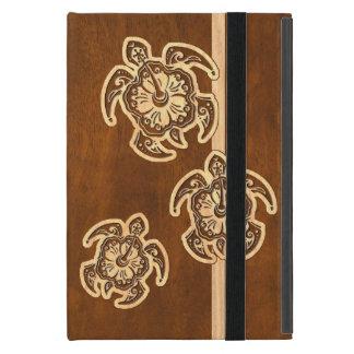 Uhane Honu Faux Wood Hawaiian Turtle Trio iPad Mini Cases