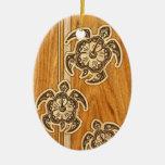 Uhane Honu Faux Wood Hawaiian Turtles Double-Sided Oval Ceramic Christmas Ornament