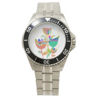 uhr con abstracto blumenmuster modelo flor reloj de mano