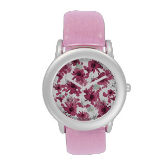 uhr con glitzerarmband y blumenmuster modelo flor reloj