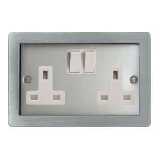 UK AC BS 1363 Plug Socket [British Standard] Rectangular Belt Buckle