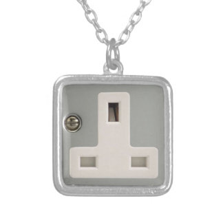 UK AC BS 1363 Plug Socket [British Standard] Silver Plated Necklace