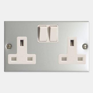 UK AC BS 1363 Plug Socket [British Standard] Rectangular Stickers