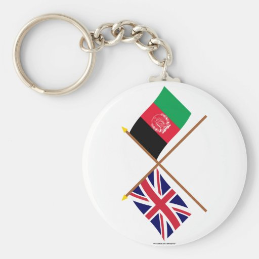 UK and Afghanistan Crossed Flags Key Chain