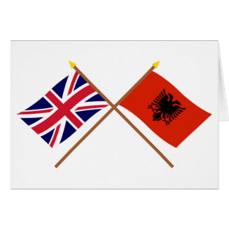 UK and Albania Crossed Flags Card