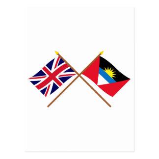 UK and Antigua & Barbuda Crossed Flags Postcard