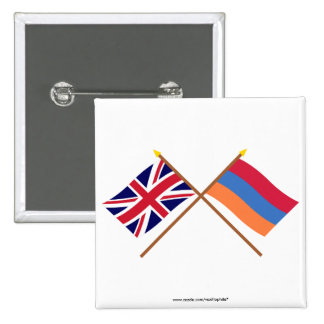 UK and Armenia Crossed Flags Pinback Buttons