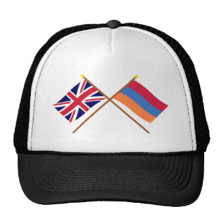 UK and Armenia Crossed Flags Hats