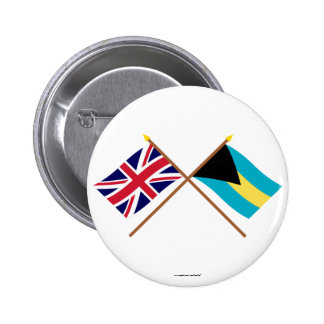 UK and Bahamas Crossed Flags Button