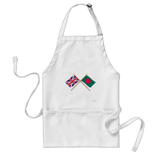 UK and Bangladesh Crossed Flags Adult Apron