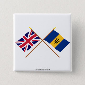 UK and Barbados Crossed Flags Button