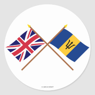 UK and Barbados Crossed Flags Classic Round Sticker