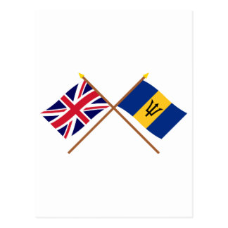 UK and Barbados Crossed Flags Postcard