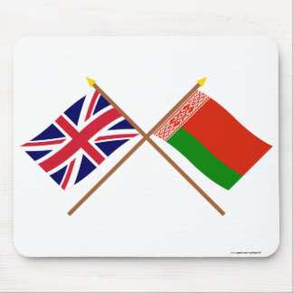 UK and Belarus Crossed Flags Mouse Pad