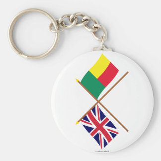 UK and Benin Crossed Flags Keychain