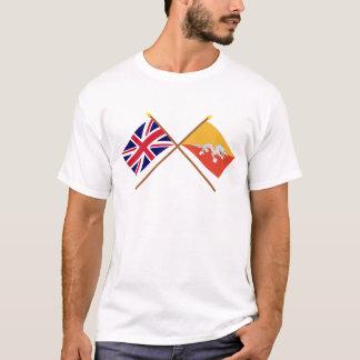 UK and Bhutan Crossed Flags T-Shirt