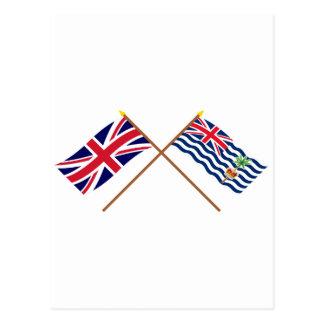 UK and BIOT Crossed Flags Postcard