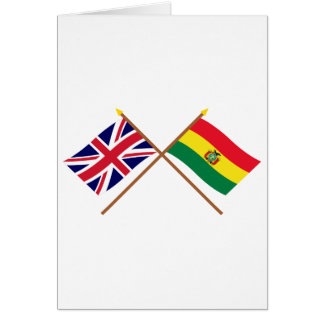 UK and Bolivia Crossed Flags Cards