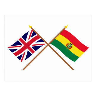 UK and Bolivia Crossed Flags Postcard