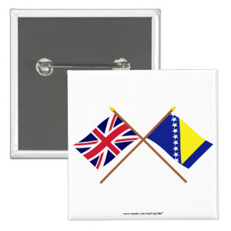 UK and Bosnia Herzegovina Crossed Flags Button