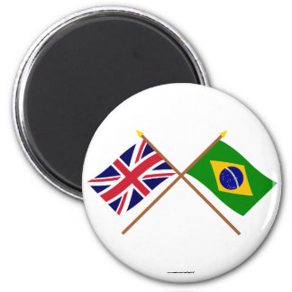 UK and Brazil Crossed Flags Magnet