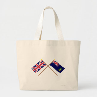 UK and British Virgin Islands Crossed Flags Tote Bags
