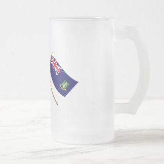 UK and British Virgin Islands Crossed Flags Frosted Glass Beer Mug