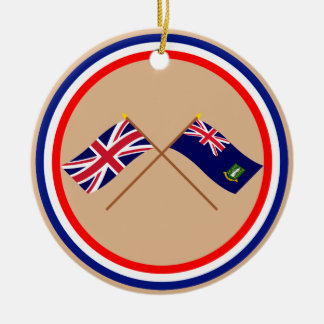 UK and British Virgin Islands Crossed Flags Double-Sided Ceramic Round Christmas Ornament