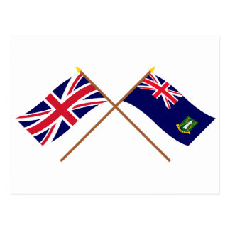 UK and British Virgin Islands Crossed Flags Postcard