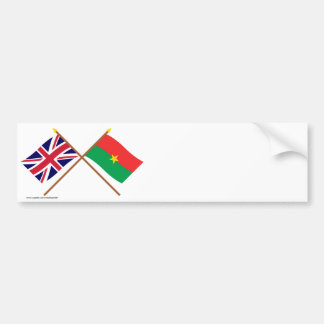 UK and Burkina Faso Crossed Flags Bumper Stickers