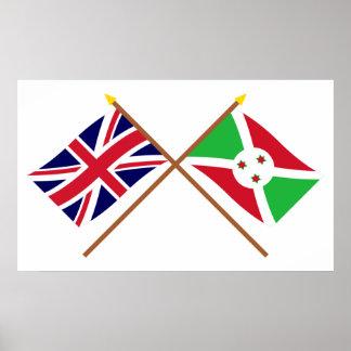 UK and Burundi Crossed Flags Poster