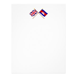 UK and Cambodia Crossed Flags Personalized Letterhead