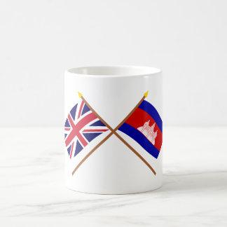 UK and Cambodia Crossed Flags Mug